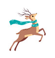 beautiful christmas deer jumping with waving scarf vector image