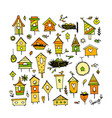 birdhouses collection sketch for your design vector image