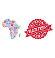 black friday composition of mosaic map of africa vector image