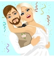 Blonde bride and groom having a romantic moment vector image