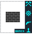 brick wall icon flat vector image