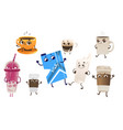 cartoon drink characters set vector image vector image