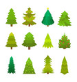 christmas decorated green tree set fir vector image vector image
