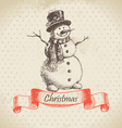 Christmas snowman hand drawn vector image vector image