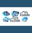 cloud solution template set vector image vector image