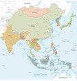 colorful map east asia vector image vector image