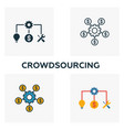 crowdsourcing icon set four elements in diferent vector image vector image