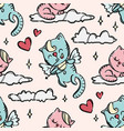 cupid kitten valentine day seamless pattern vector image