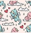 cupid kitten valentine day seamless pattern vector image vector image