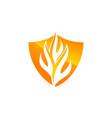 fire shield logo design template vector image vector image