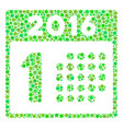 first 2016 day collage icon of circles vector image