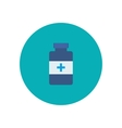 Flat bottle with medical pills icon vector image