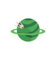flat green planet ring sputnik satellite vector image vector image