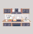 flat kitchen equipment with knife exhaust hood vector image