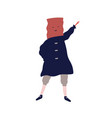 funny male character in costume with box on head vector image