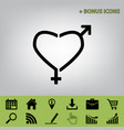 gender signs in heart shape black icon at vector image vector image