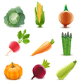 Glossy vegetable set vector image vector image