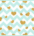 gold heart seamless pattern blue-white geometric vector image vector image