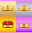 gold kings medieval crowns in several designs set vector image vector image