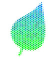 halftone blue-green plant leaf icon vector image