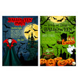 halloween party banner with pumpkin and vampire vector image vector image