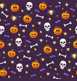 halloween pumpkin and skull seamless pattern on vector image vector image