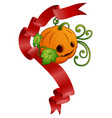 halloween pumpkin with red ribbons vector image vector image