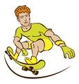 Happy Cartoon Skateboard Boy Wearing vector image