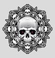 human skull over mandala vector image