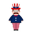 isolated man with an american party hat vector image vector image