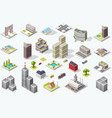 isometric city quality set vector image