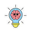 kawaii cute tender brain bulb idea vector image