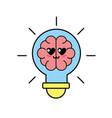 kawaii cute tender brain bulb idea vector image