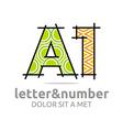 letter a number 1 line symbol font vector image