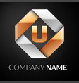 Letter u logo symbol in the colorful rhombus on