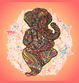 lord ganesha on indian mandala background asian vector image