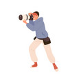 male professional photographer taking photo vector image vector image