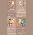 man and woman drawing pictures on easel by pencils vector image vector image