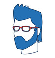 man face avatar wear glasses and blue hairstyle vector image