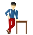 Man leaning on table vector image