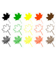 maple leaf color set vector image vector image