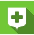 Medical Shield Flat Long Shadow Square Icon vector image vector image