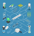 nanotechnology applications isometric flowchart vector image