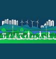 paper eco city happy families in park vector image vector image