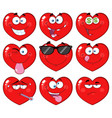 red heart cartoon emoji facecollection - 2 vector image vector image