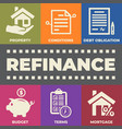 refinance concept with icons and signs vector image vector image