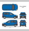 renault dokker passenger mini van 2019 vector image vector image