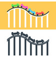 roller coaster logo or icon set multicolored and vector image vector image