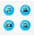 set glossy multimedia icons vector image vector image