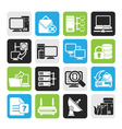 Silhouette Computer Network and internet icons vector image vector image